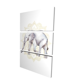 Canvas 24 x 36 - 3D - Elephant on mandalas