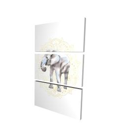 Canvas 24 x 36 - 3D - Elephant on mandalas pattern