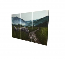 Canvas 24 x 36 - 3D - Sheep in the countryside