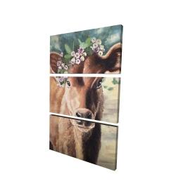 Canvas 24 x 36 - 3D - Cute jersey cow
