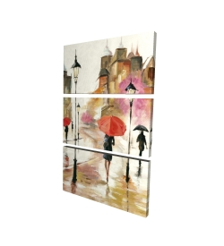 Canvas 24 x 36 - 3D - Passersby under their umbrellas