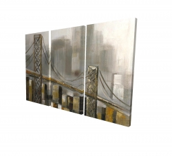 Canvas 24 x 36 - 3D - Bridge by a cloudy day