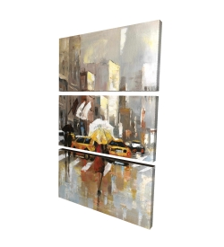Canvas 40 x 60 - 3D - People with umbrellas walking across the street