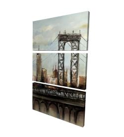 Canvas 24 x 36 - 3D - City bridge by a cloudy day
