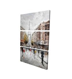 Canvas 24 x 36 - 3D - Paris busy street