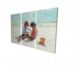 Canvas 24 x 36 - 3D - Little girls at the beach