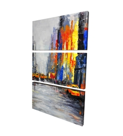 Canvas 24 x 36 - 3D - Color spotted street with taxis