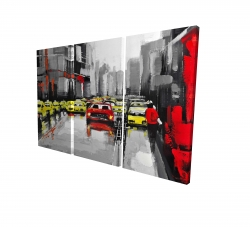 Canvas 24 x 36 - 3D - Abstract traffic by a rainy day