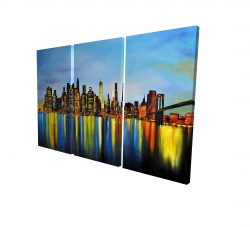 Canvas 24 x 36 - 3D - City by night with a bridge