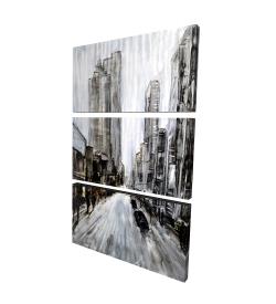 Canvas 24 x 36 - 3D - Gray gloomy street