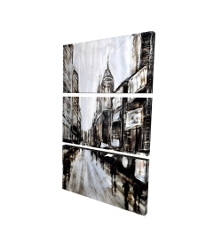 Canvas 24 x 36 - 3D - Busy gray street