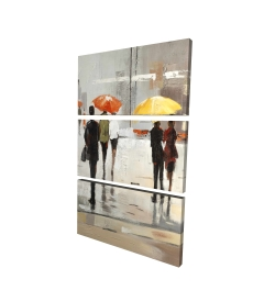 Canvas 24 x 36 - 3D - Abstract passersby with umbrellas