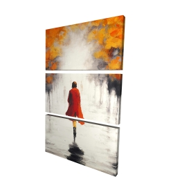 Canvas 24 x 36 - 3D - Woman with a red coat by fall