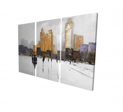 Canvas 24 x 36 - 3D - Silhouettes walking towards the city