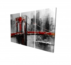 Canvas 24 x 36 - 3D - Abstract and red brooklyn bridge
