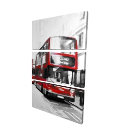Canvas 24 x 36 - 3D - Red bus londoner