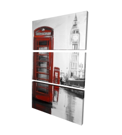 Canvas 24 x 36 - 3D - Red phonebooth with the big ben