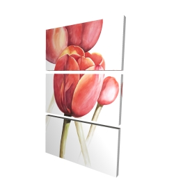 Canvas 24 x 36 - 3D - Blossoming tulips closeup