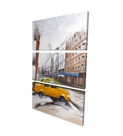 Canvas 24 x 36 - 3D - Taxi in the street sketch