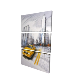 Canvas 24 x 36 - 3D - Yellow taxi and city sketch