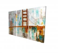 Canvas 24 x 36 - 3D - Golden gate with turquoise paint spots