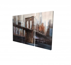 Canvas 24 x 36 - 3D - Urban brooklyn bridge