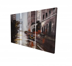 Canvas 24 x 36 - 3D - Morning street scene