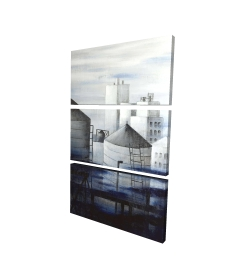 Canvas 24 x 36 - 3D - Gray city with blue clouds