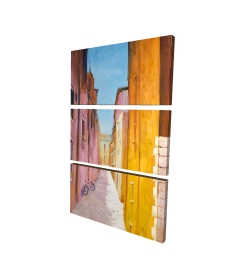 Canvas 24 x 36 - 3D - Colorful houses in the streets of collioure