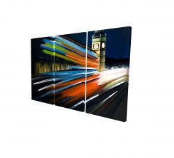 Canvas 24 x 36 - 3D - London bus with long exposure