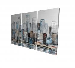 Canvas 24 x 36 - 3D - Abstract urban skyline