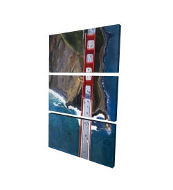 Canvas 24 x 36 - 3D - Overhead view of the golden gate and mountains