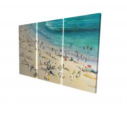 Canvas 24 x 36 - 3D - Summer crowd at the beach