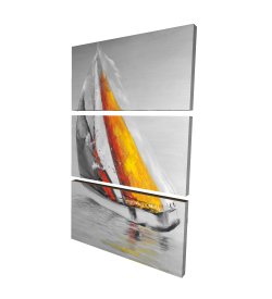 Canvas 24 x 36 - 3D - Two colors sailing boat