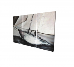 Canvas 24 x 36 - 3D - Boat in a violent storm