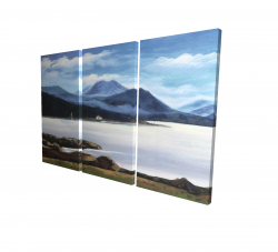 Canvas 24 x 36 - 3D - Scottish highlands by a beautiful day