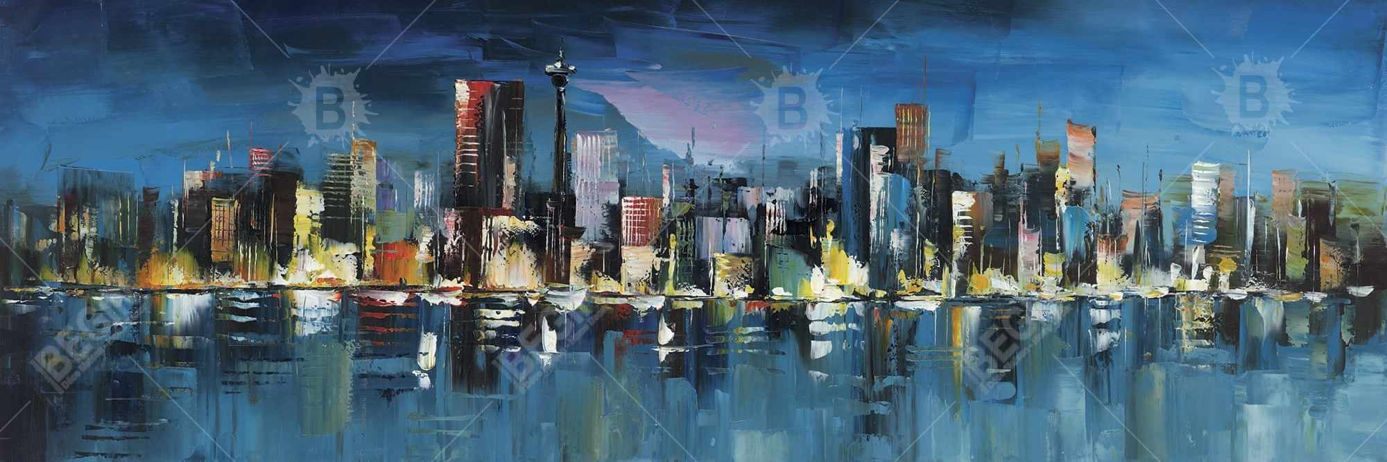 Abstract blue cityscape by night
