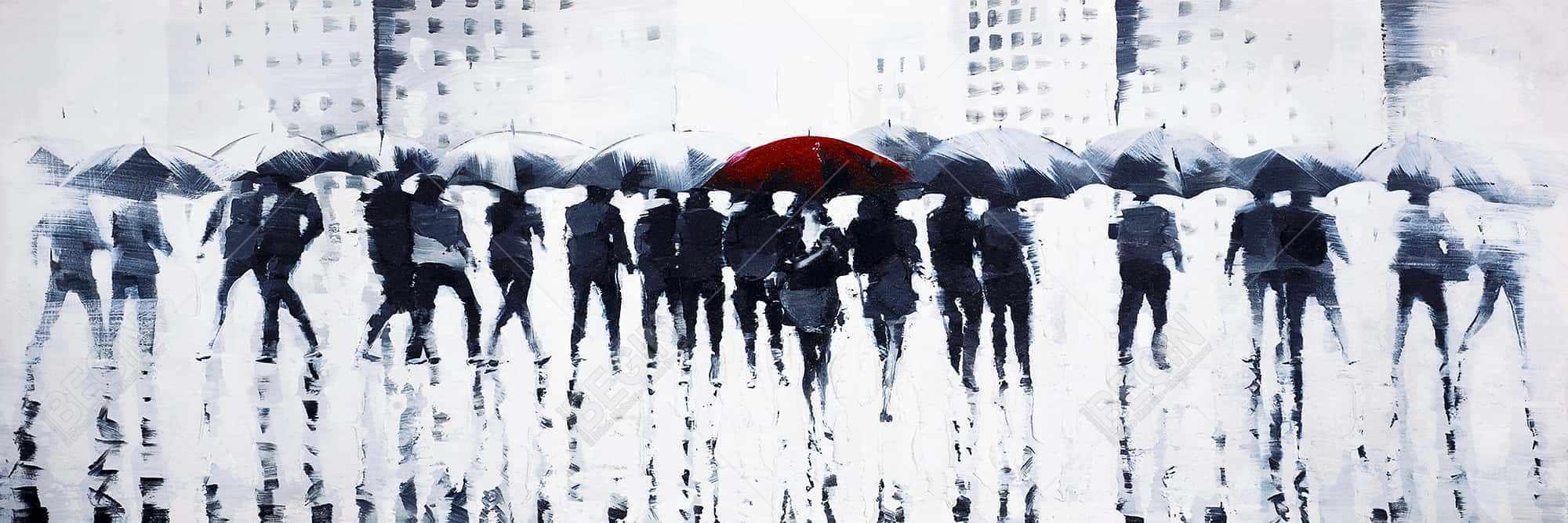 Silhouettes walking in the rain