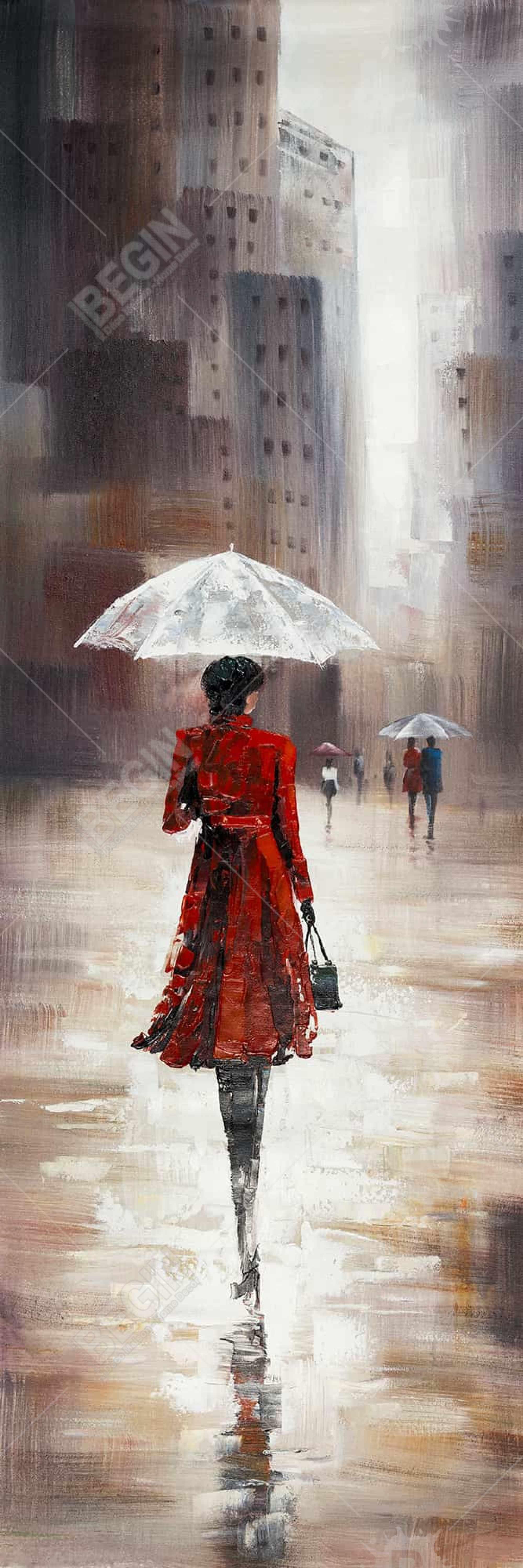 Quiet walk in the rain