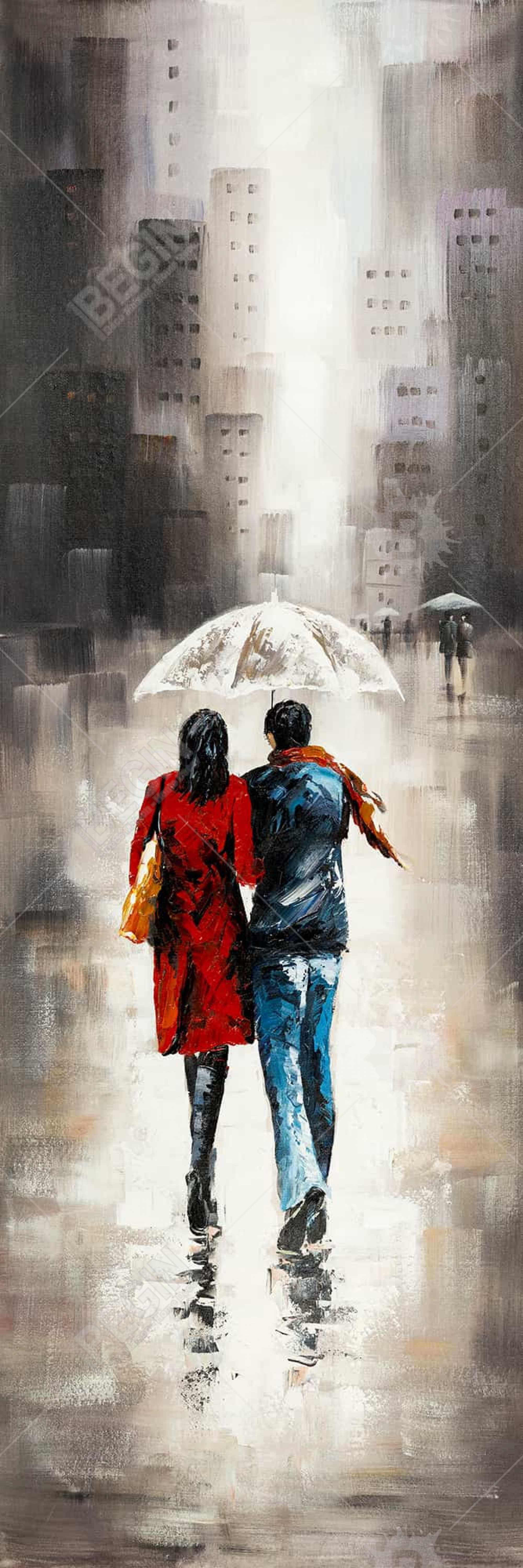 Quiet walk in couple in the rain
