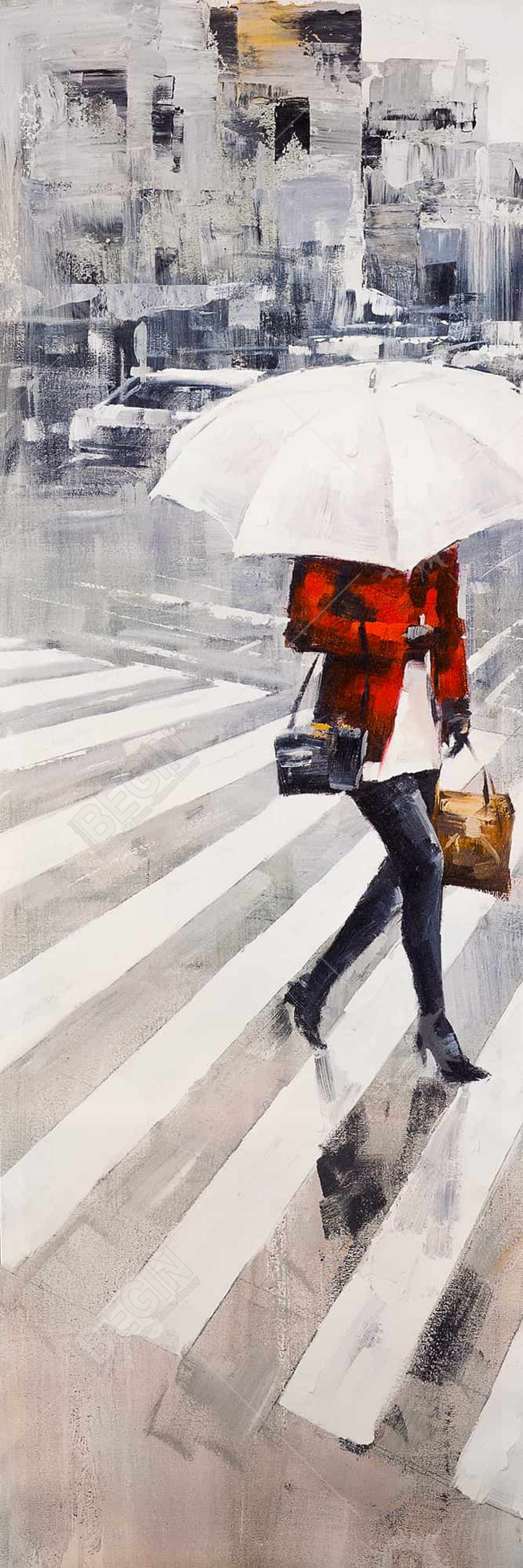 Woman walking with her umbrella