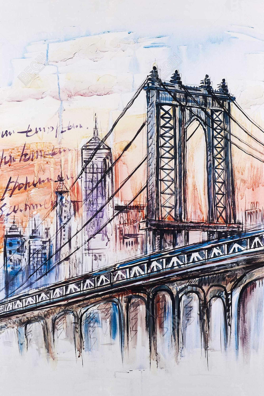 Esquisse d'un pont avec message écrit à la main