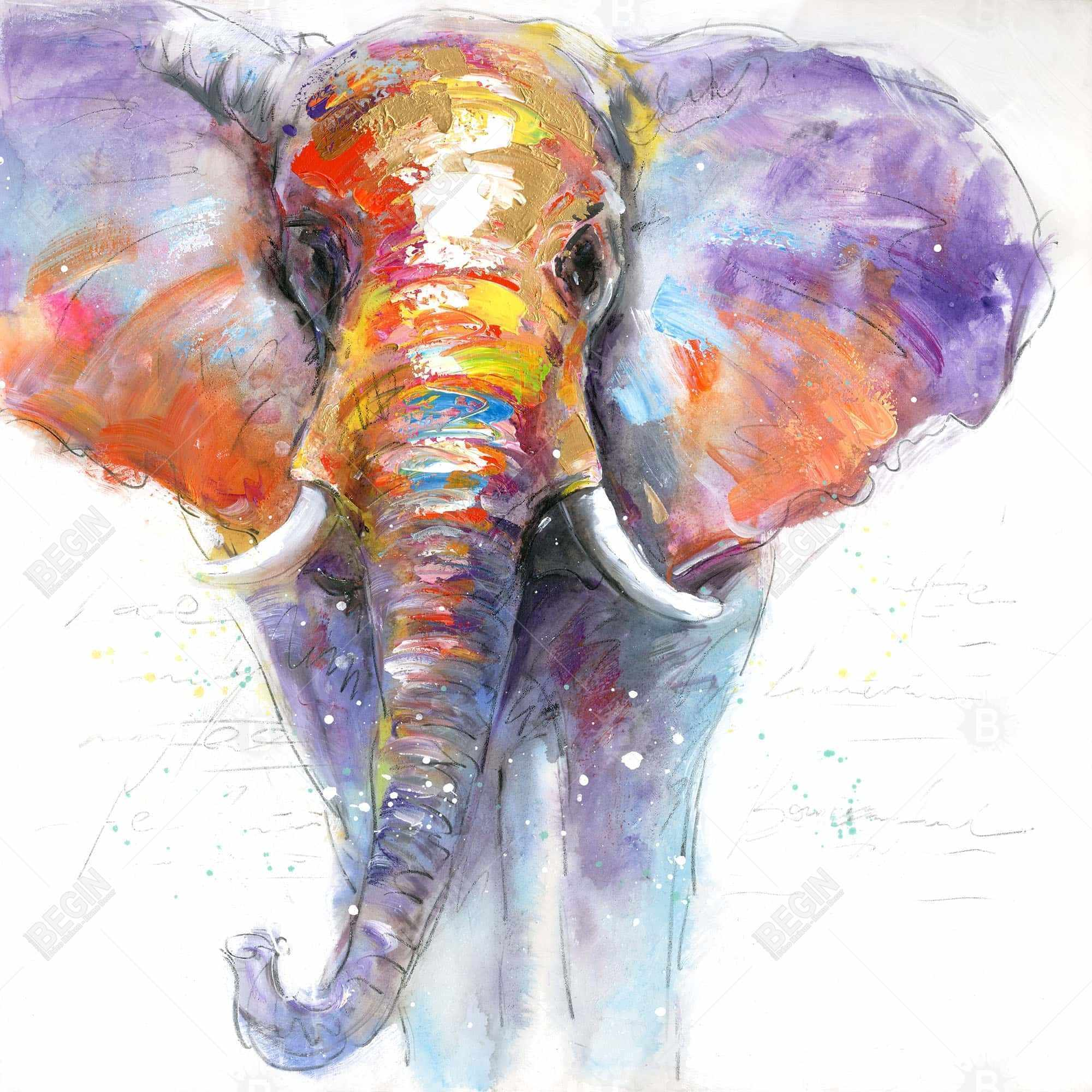Colorful walking elephant