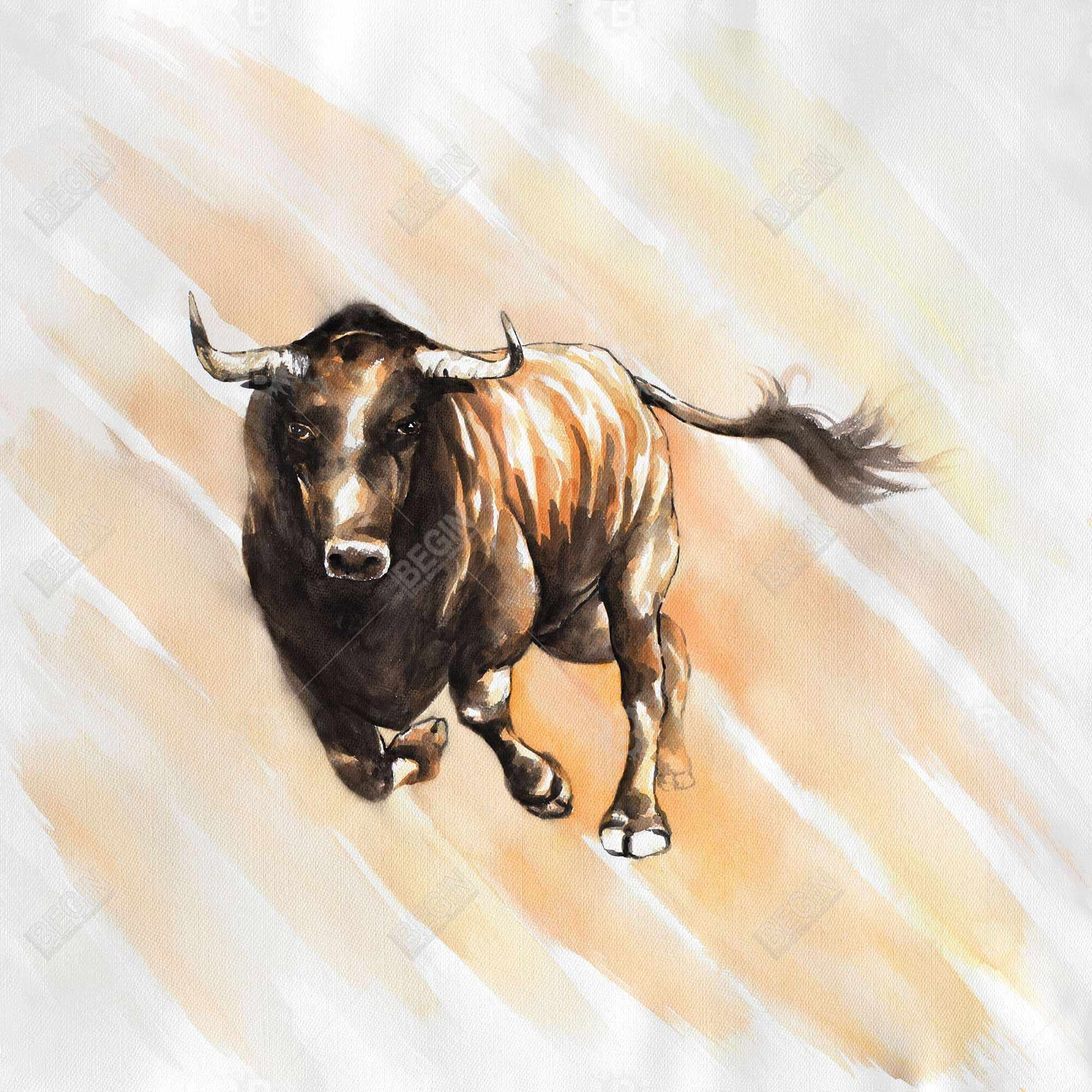 Bull running watercolor
