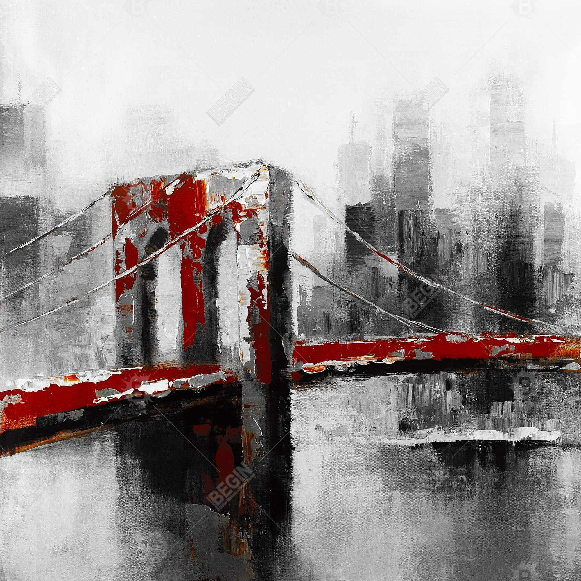 Abstract and red brooklyn bridge