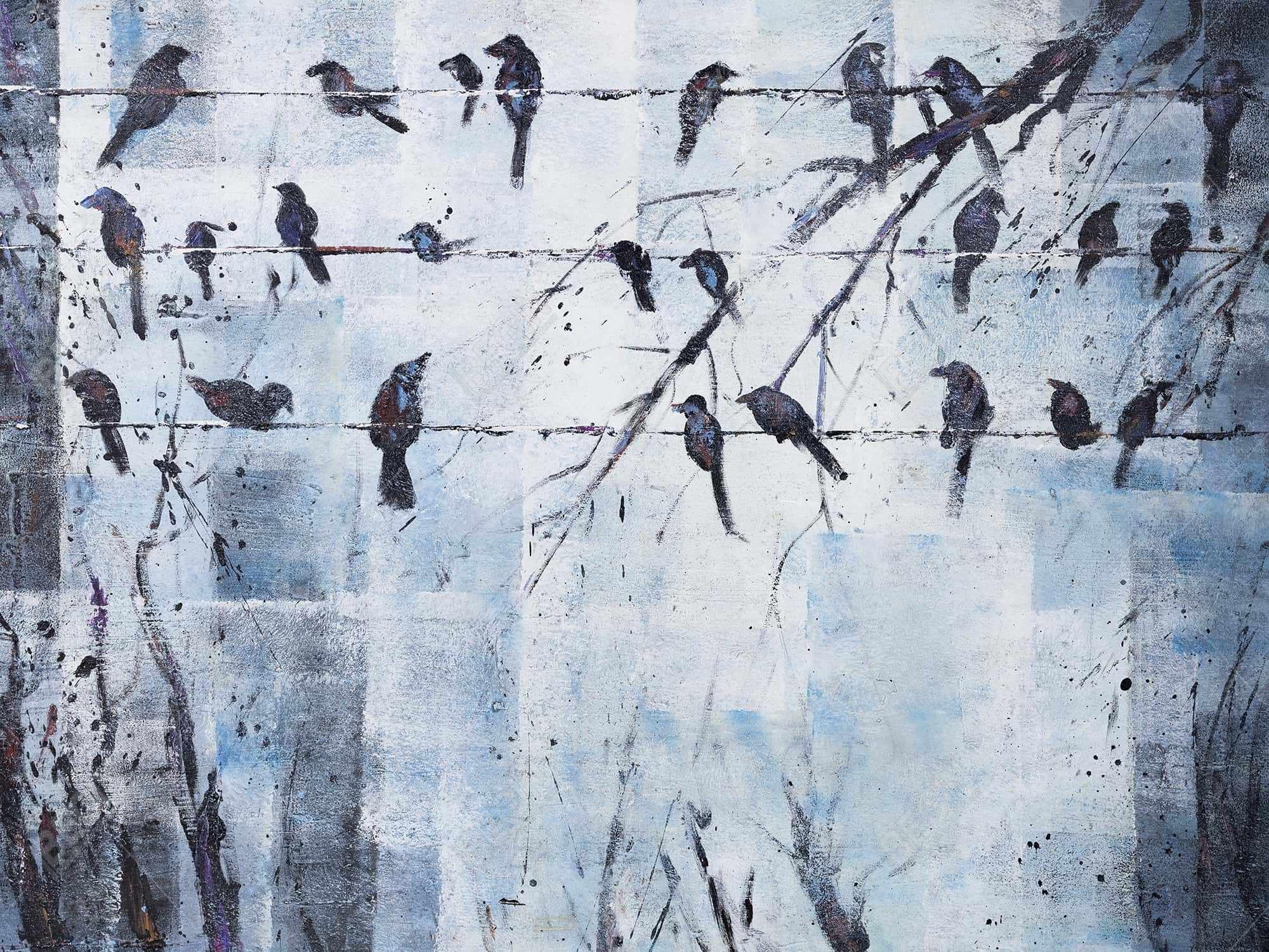 Oiseaux abstrait sur fil électrique