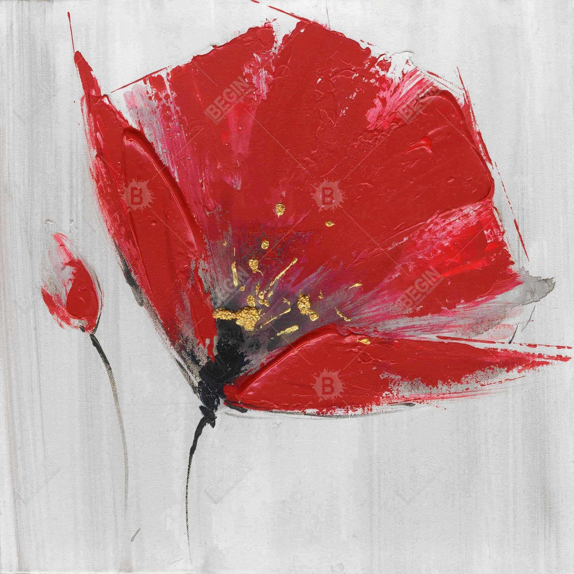 Two red flowers on gray background