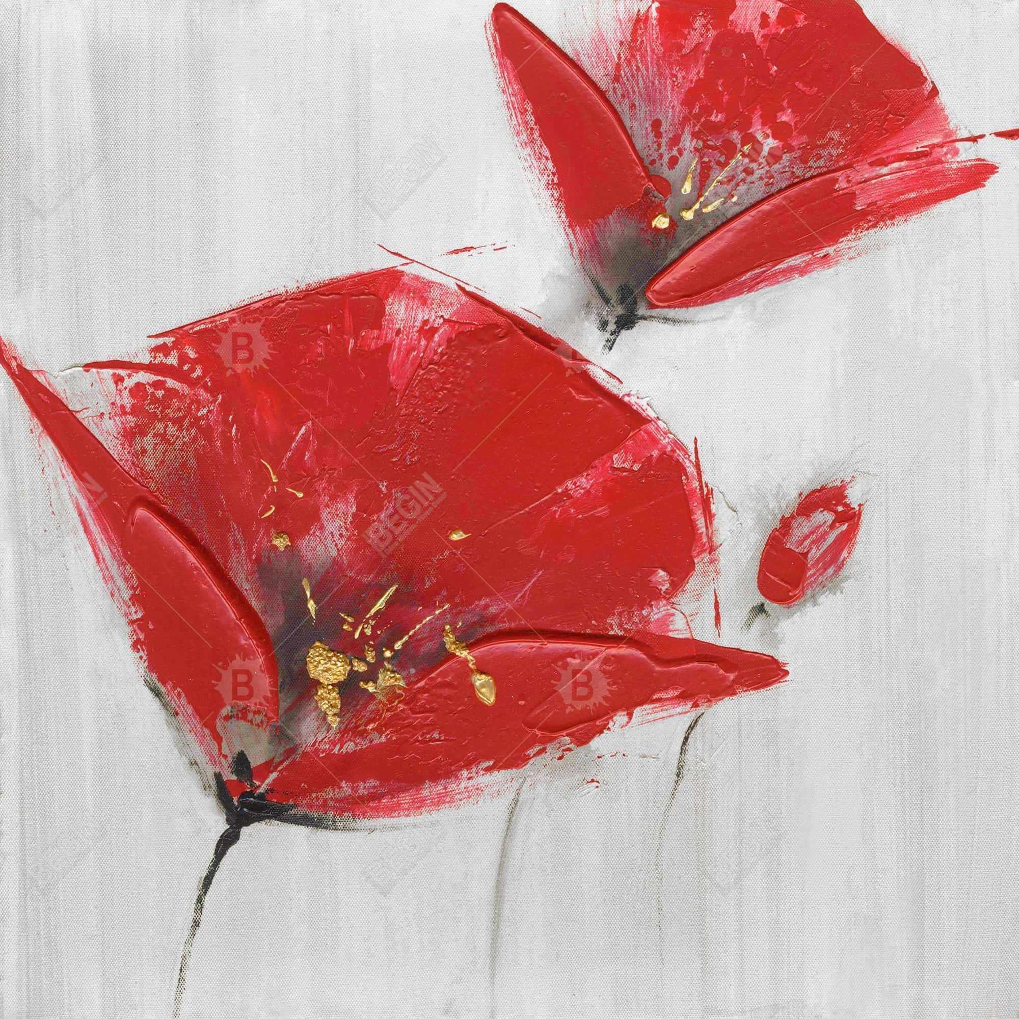 Trois fleurs rouges à centre doré