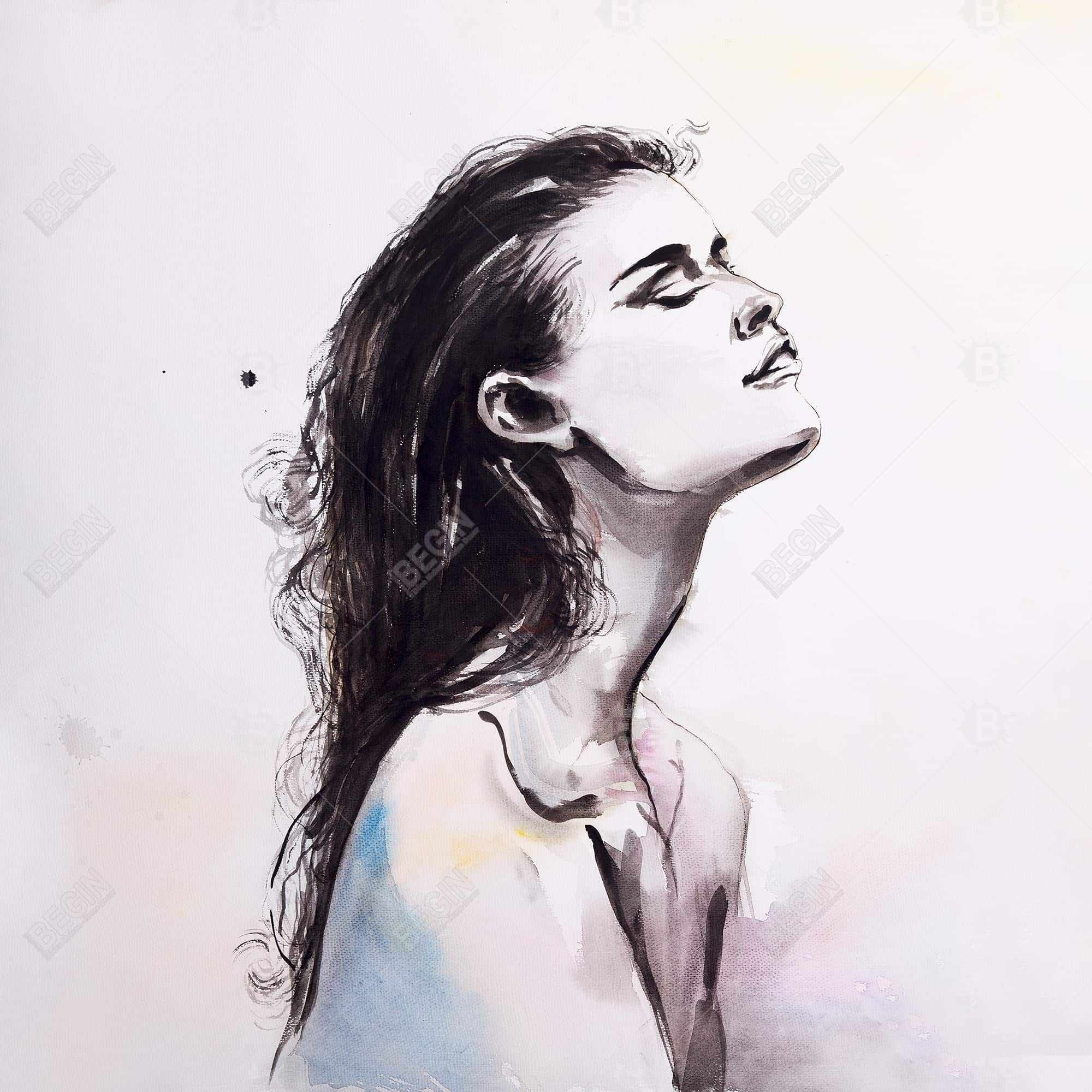 Watercolor beautiful woman with dark hair