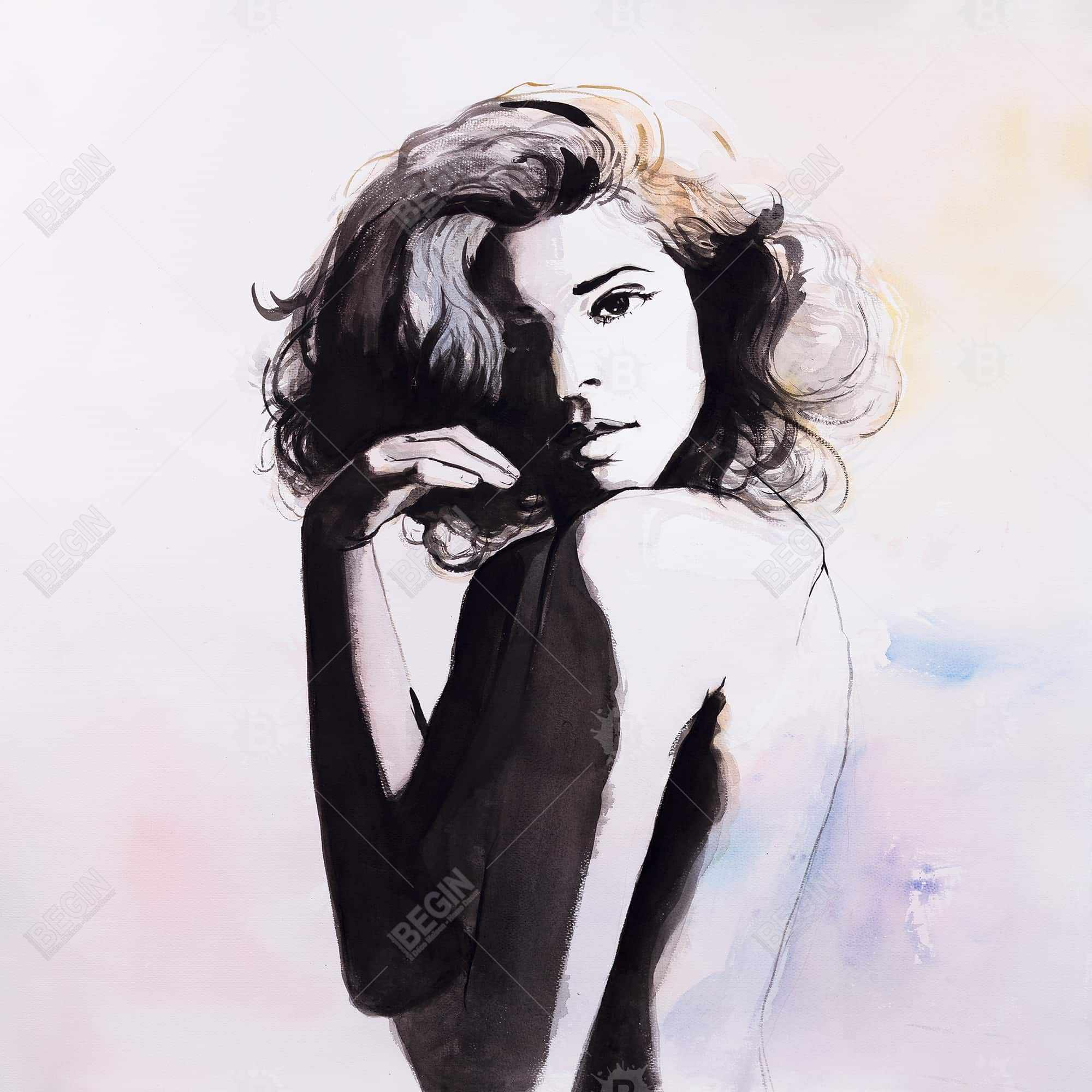 Watercolor beautiful young woman